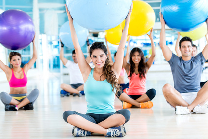 People in a Pilates class