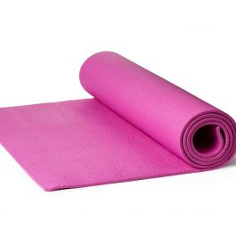 Pink Yoga Mat on a White Background