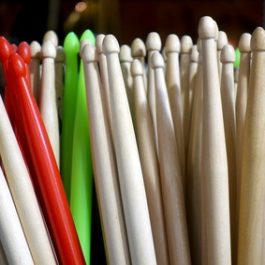 Bunch of colorful drum sticks.